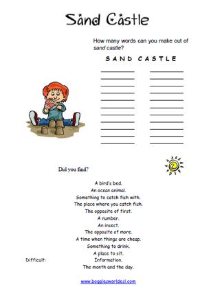 Sandcastle Word Scramble Worksheet