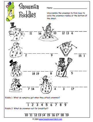 Christmas Snowman Riddles Worksheet