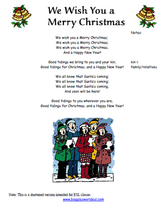 We Wish You A Merry Christmas Lyrics.We Wish You A Merry Christmas Song Worksheet