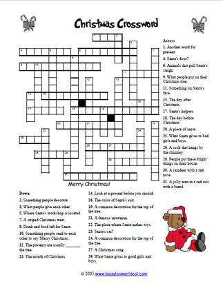 Christmas Crossword.Challenging Christmas Crossword