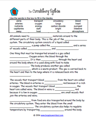 Circulatory System Cloze Worksheet