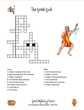 Greek Gods Crossword 1