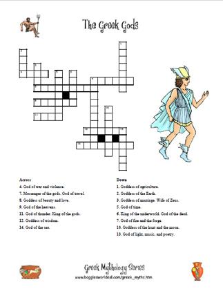 Greek Gods Crossword 2