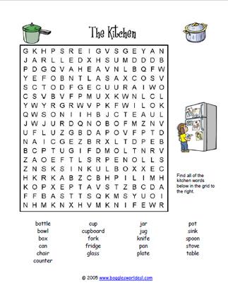 Kitchen Word Search