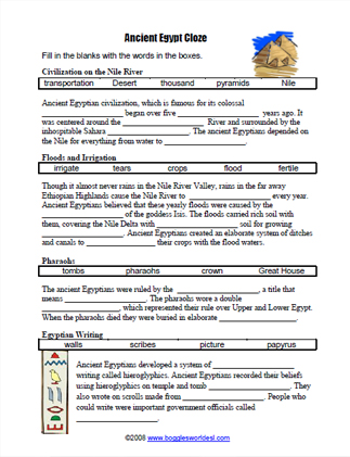 graphic relating to Ancient Egypt Printable Worksheets identify Historical Egyptian Cloze Worksheet