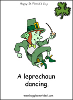 Sample Leprechuan card: A leprechaun dancing.