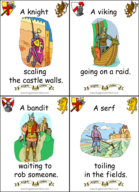Knights and Medieval Times Flashcards – Middle Ages Worksheets
