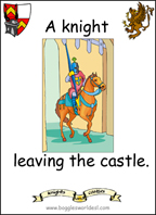 A sample flashcard: A knight leaving the castle.