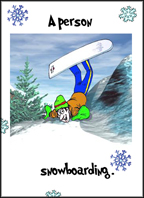 Snowboarding: A sample winter flashcard.