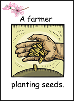 A sample flashcard: A farmer planting seeds.