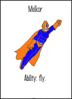Superhero flashcards for reviewing the modal 'can'.