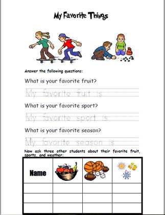My Favorite Things Worksheet Checks Worksheet
