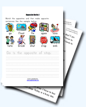 Opposites Worksheets and Activities for Young Learners