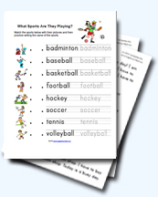 Sports and Exercise Worksheets