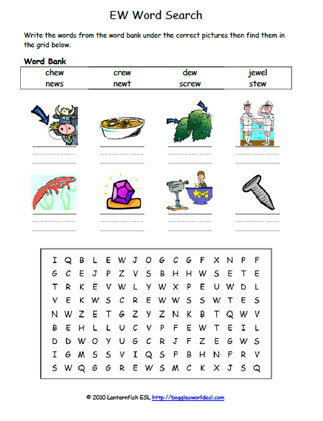Vowel Digraph EW Phonics Word Search