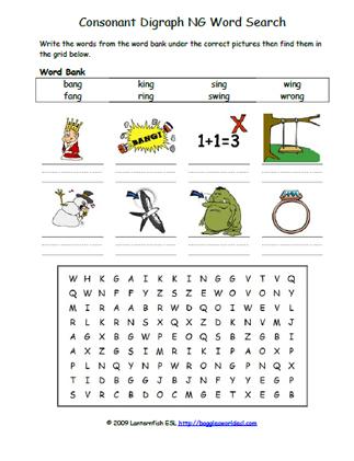 Consonant Digraphs NG Phonics Word Search