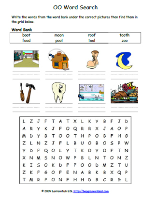 Vowel Digraphs OO Phonics Word Search