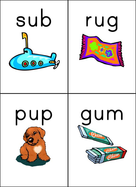 Short U: bug, bus, cub, cup gum, pup, rug, sub