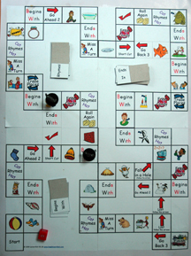 Picture of phonics game board.