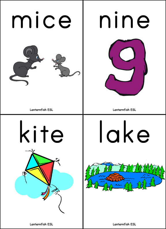 Long Vowel Silent E Words Flashcards and Fish/Memory Game