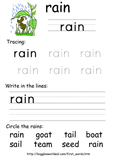 Sample Worksheet for Vowel Digraph Spelling