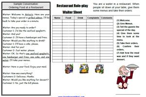 Restaurant ESL Role-play